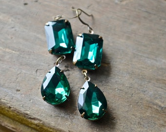 Emerald Green Earrings | Long Dangle Holiday Earrings | Glass Jewels | Cocktail Jewelry | Rustic Brass Settings | Angelina Jolie Ins