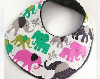 Elephant Print Dribble Bib, Drool Bib, Teething Bib, Baby Accessories, Baby Gift, Baby Present, Newborn Bib, Michael Miller Fabric, Bibs
