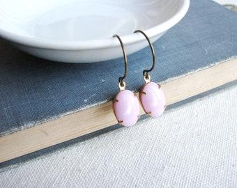 Jewel Earrings Pink Vintage Gems Oval Estate Style Minimalist Modern Bridal Jewelry Bubble Gum