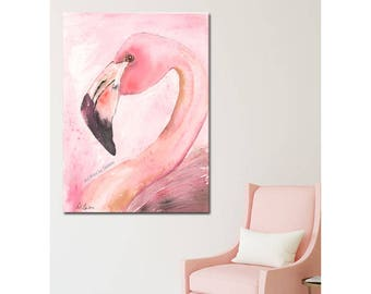 Flamingo Watercolor Girls Bedroom Baby Nursery Fine Art Print, Abstract Flamingo Painting, Pink Coral Tropical Nursery Theme, 5x7 to 24x36