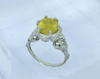 Opal Ring, Mexican Opal Ring, Opal Ring Silver, Sterling Ring Silver, Yellow Ring, Mexican Opal Jewelry, Alternative Engagement Ring