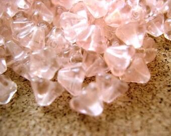 100 Czech glass flower beads bell shape light pink 6mmx5mm, NEW