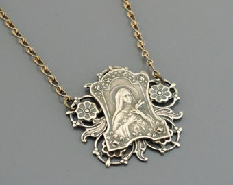 Vintage Jewelry - Vintage Necklace - St. Therese of Lisieux Necklace - Catholic jewelry - Chloes Vintage Jewelry - handmade jewelry