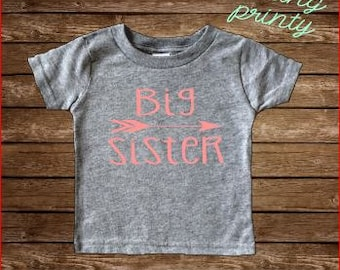 SALE gray big sis Shirt Big Sister Shirt Girls Shirt New Sister grey shirt