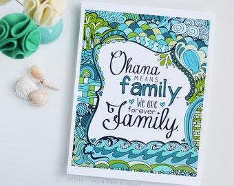 Ohana, Family, Teal, Seafoam, Turquoise, Art Print, Salt Water, Beach, Ocean, Sea, Hawaii, Hawaiian, 5x7, 8x10, 11x14