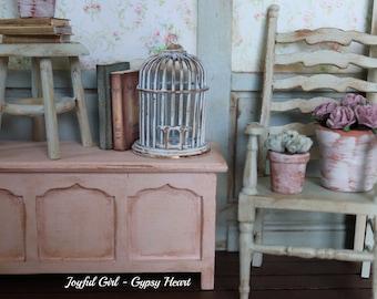 1:12 Miniature Shabby Chic Dollhouse Birdcage Bird Cage Farmhouse Cottage Decoration