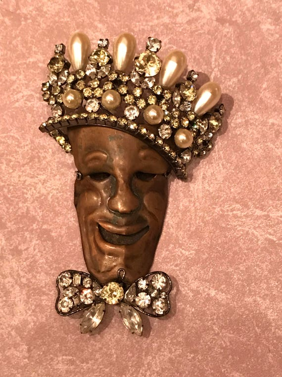 Lawrence VRBA Amazing Dimensional Figural Head with Crown Brooch