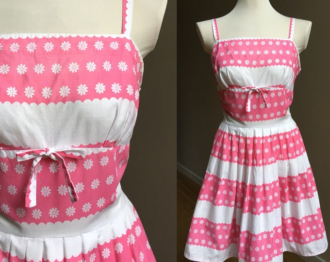 Featured listing image: Vintage 1950s - pinup spaghetti strap pink & white cotton daisy novelty print sundress - bow detail - M medium - 36 38 bust 28 waist