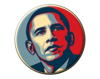 Obama Hope Magnet Iconic Image Large Round Fridge Magnet - President Barack Obama - 2.25 inch Flat-Backed Magnet