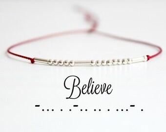 Believe Morse Code Bracelet Inspirational Bracelet Minimalist Motivational Quote Jewelry Sterling Silver Beaded Silk Cord Bracelet