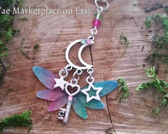 Magical Moon and Stars Fairy Wing Key Necklace