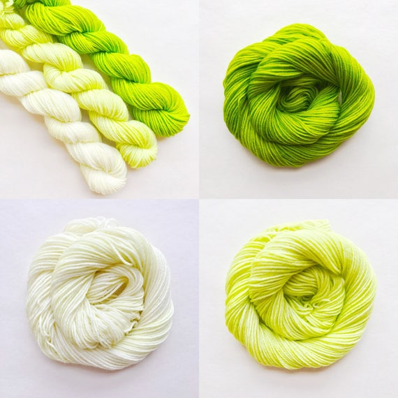 LIME fade set of hand dyed yarn. Gradient ombre SET of 3 skeins