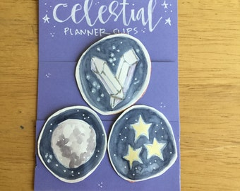 CELESTIAL planner clips for journals or planners