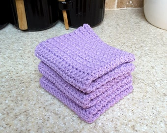 Crochet Wash Cloths Crochet Dish Cloths 100% Cotton Crochet Washrag Set of 3 Kitchen Dishcloths Facial Cloth Crocheted Dish Cloth