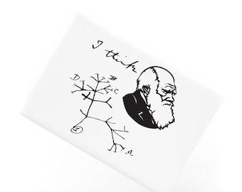 Ceramic Fridge Magnet, I Think Charles Darwin Tree of Life Origin of Species Evolution Drawing Atheist Refrigerator Magnet, FM211