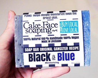 Black and Blue aids in healing skin vegan soap for thin and dry skin