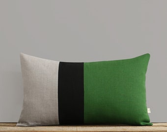 Lumbar Pillow in Meadow Green, Black and Natural Linen, Colorblock Pillow Cover (12x20) by JillianReneDecor, Fall Home Decor, Stripe Trio