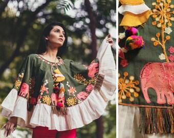 Khadi Poncho, Free size Poncho,jute,tussle,Winter wear
