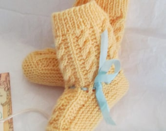 Hand Knit Baby Booties Pure Merino Wool  Ready to Ship