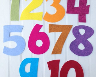 "Wool Felt Number Die Cut Set - 4"" Tall - Great for Learning"