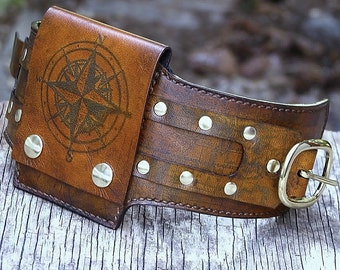 Leather Wrist Wallet Cuff for Men and Women - hidden pocket for travelers, Biker Wallet - World Map - MADE TO ORDER Wristband