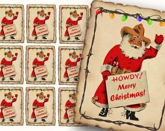 Cowboy Western Santa Gift Tags, Digital Stickers, Cards, Western Christmas, Texas Santa, Cowboy Santa, Printable Santa, Howdy Holiday