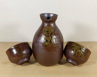 Japanese Sake set Bottle & Cups of Bizen ware, Natural Ash Glaze, Wood fired Hole Kiln, Bizen Yaki Pottery Decanter Tokkuri Guinomi Sakasuki