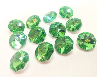 12 Metallic Green 14mm Octagon Chandelier Crystals Beads