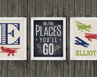Oh the places you'll go, transportation nursery, transportation theme, airplanes, airplane nursery decor, airplane nursery art, nursery, art