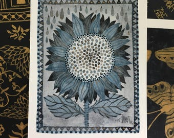 Original-Aquarell, Sonnenblume No. 1, Miniatur