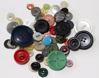 Lot of 50 Vintage Buttons - Mixed Media, Assemblage, Scrapbooking,  Art Journal, Collage Supplies