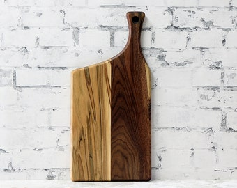 SALE, Price Reduced!!! Wooden Cutting Board, Walnut, Ambrosia Maple, Offset Handle