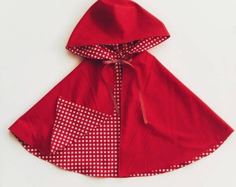 Girls Caplet - Special Occasion Cloak - Little Red Riding Hood - Girls Storybook Outfit - Holiday Caplet