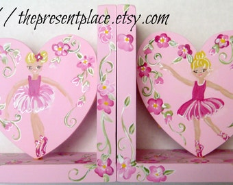 Pink ballerina,hand painted heart shaped bookends,ballerinas,flowersgirl's bookends,children's bookends,Christmas gift,ballerina bookends