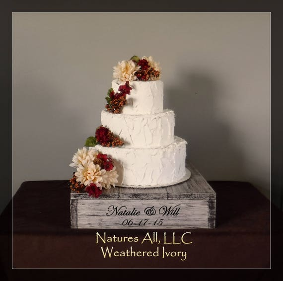 """16"""" Rustic Wedding Cake Stand/Personalized Option/Weathered Ivory/Cupcake Stand/Country Wedding Decor/Rustic Cake Stand"""