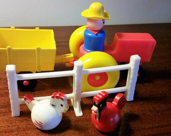 Seven Pieces of Fisher Price Farm and Family - #915 - 1970s - Farmer, Wife, Rooster, Hen, Tractor, Wagon, Fence - Toddler Preschool Toys