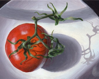 Original Painting Small Still Life Painting of Tomato, Kitchen Art for Home Decor in Red, White