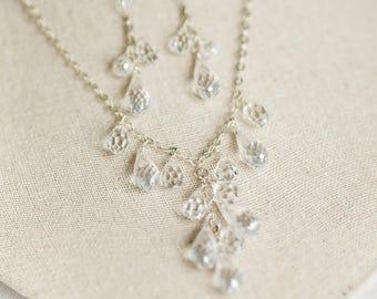 Bridal Necklace Set, Wedding Necklace Set, Cubic Zirconia Necklace, Bridal Jewelry, CZ Wedding Jewelry