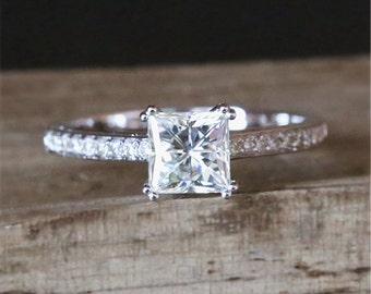 5.5mm Square Cut Forever Brilliant Moissanite Engagement Ring Eternity Diamonds Ring 14K White Gold Ring C&C Moissanite Anniversary Ring