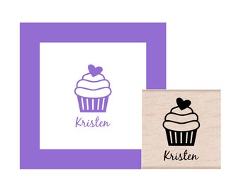 Cupcake Personalized Rubber Stamp