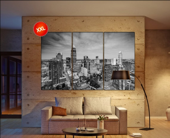 Charlotte canvas wall art art  large  black white canvas wall art print Charlotte North Carolina City Cityscape skyline City Office Decor