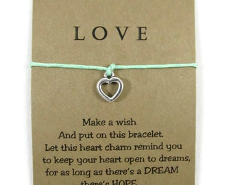 Wish Bracelet. Love Bracelet Valentines gift for her. Friendship Bracelet. Love charm bracelet Make a Wish Bracelet Message card Heart charm
