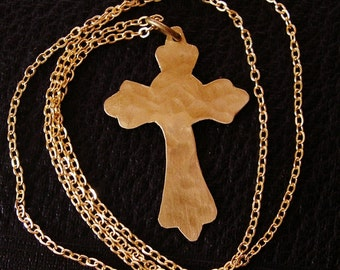 Hammered Brass Cross Necklace - Free Domestic Shipping