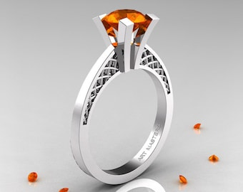 Modern Armenian 14K White Gold Lace 1.0 Ct Orange Sapphire Solitaire Engagement Ring R308-14KWGOS