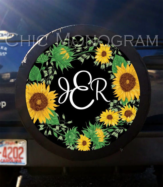 Sunflower Tire Cover Sunflowers Spare Tire Cover Custom Tire Cover Monogrammed Tire Cover Jeep Wrangler Accessories Jeep Tire Cover For Car