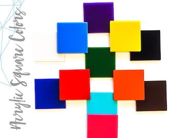 """25 Acrylic Square Blanks - ( Select size and colors)  1/8"""" Thick - laser cut With Polished Edges Plexiglass"""