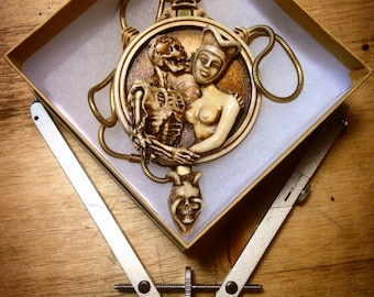 Death and the Maiden mechanical cameo necklace