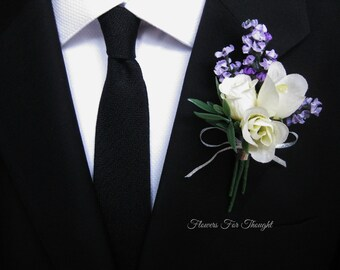 Lavender Rose Boutonniere, Groomsmen Lapel Pin, Cream and Purple Wedding Flowers, FlowersForThought original design