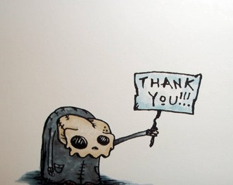 Skull Monster Thank You Card Set of 4 Greeting Card Pack A2 by Agorables Rulers of the Undead Zombies 4x5.5