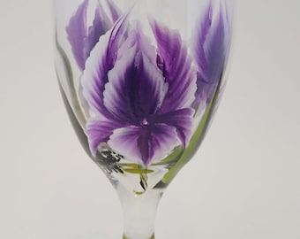 Hand Painted Iris Glass Water Goblet